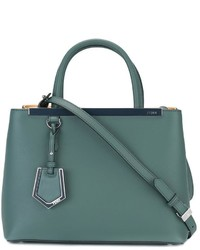Bolsa Tote de Cuero Verde Azulado de Fendi