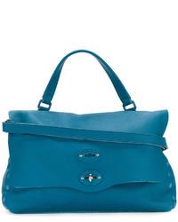 Bolsa Tote de Cuero Verde Azulado de Zanellato