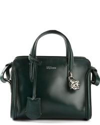 Bolsa tote de cuero verde oscuro de Alexander McQueen