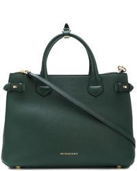 Bolsa Tote de Cuero Verde Oscuro de Burberry