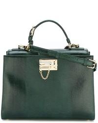 Bolsa tote de cuero verde oscuro de Dolce & Gabbana