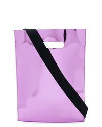 Bolsa tote de cuero violeta claro de MM6 MAISON MARGIELA