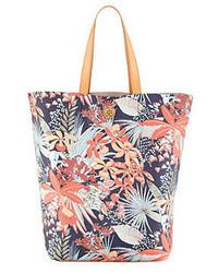 Bolsa tote de lona con print de flores en multicolor