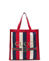 Bolsa tote de lona de rayas verticales en blanco y rojo y azul marino de Gucci