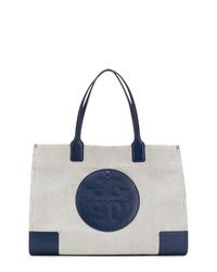 Bolsa tote de lona en blanco y azul marino de Tory Burch