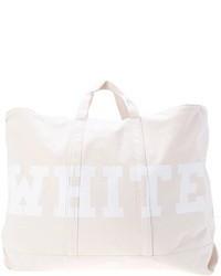 Bolsa tote de lona estampada blanca
