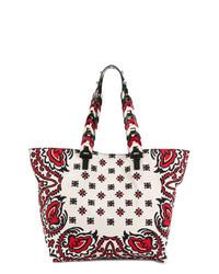 Bolsa Tote de Lona Estampada Blanca de RED Valentino