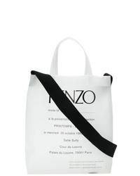 Bolsa tote de lona estampada en blanco y negro de Kenzo