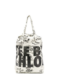 Bolsa tote de lona estampada en blanco y negro de See by Chloe