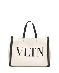 Bolsa tote de lona estampada en blanco y negro de Valentino