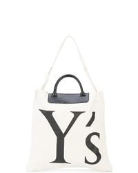 Bolsa tote de lona estampada en blanco y negro de Y's