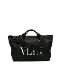 Bolsa tote de lona estampada en negro y blanco de Valentino