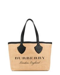 Bolsa tote de lona estampada marrón claro de Burberry