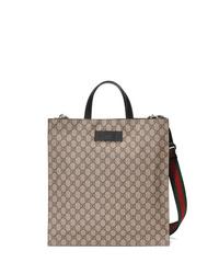 Bolsa tote de lona estampada marrón claro de Gucci