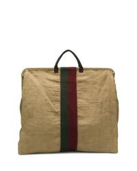 Bolsa tote de lona estampada marrón claro de Uma Wang