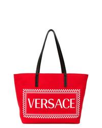 Bolsa tote de lona estampada roja de Versace