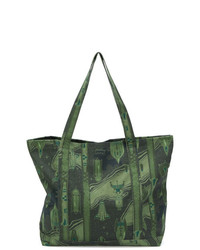 Bolsa tote de lona estampada verde oliva de MAISON KITSUNE