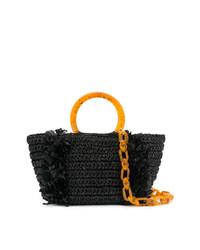 Bolsa tote de paja bordada negra de Carolina Santo Domingo