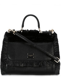 Bolsa tote de paja negra de Dolce & Gabbana