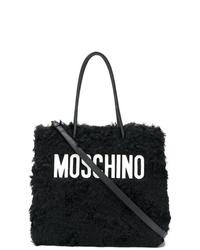 Bolsa tote de pelo en negro y blanco de Moschino