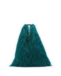 Bolsa tote de pelo en verde azulado de MM6 MAISON MARGIELA