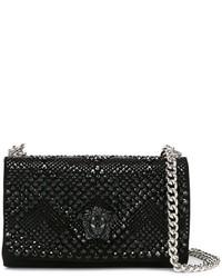 Bolso bandolera de ante con adornos negro de Versace