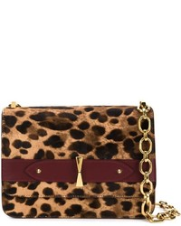 Bolso bandolera de ante de leopardo marrón de Alexander McQueen