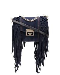Bolso bandolera de ante сon flecos azul marino de Givenchy