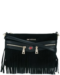 Bolso bandolera de ante сon flecos negro de Love Moschino