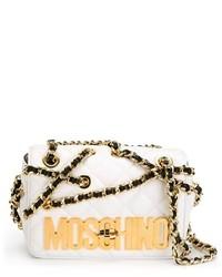 Bolso bandolera de cuero acolchado en beige de Moschino