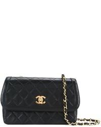 Bolso Bandolera de Cuero Acolchado Negro de Chanel