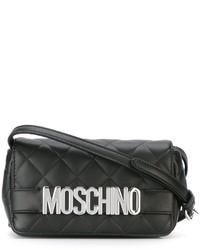Bolso bandolera de cuero acolchado negro de Moschino