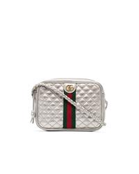 Bolso bandolera de cuero acolchado plateado de Gucci