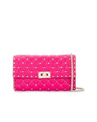 Bolso bandolera de cuero acolchado rosa de Valentino