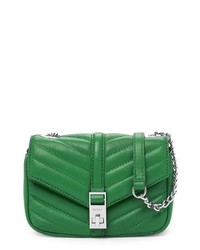 Bolso bandolera de cuero acolchado verde
