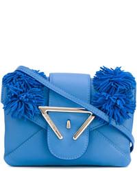 Bolso bandolera de cuero azul de Sara Battaglia