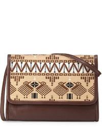 Bolso bandolera de cuero bordado marrón