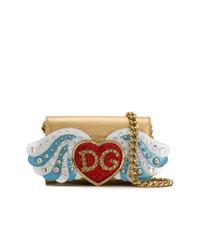 Bolso bandolera de cuero con adornos dorado de Dolce & Gabbana