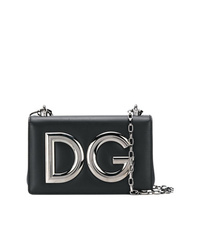 Bolso bandolera de cuero con adornos negro de Dolce & Gabbana