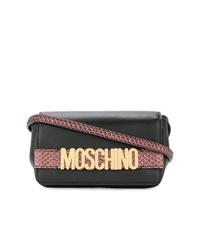 Bolso bandolera de cuero con adornos negro de Moschino