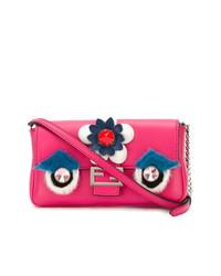 Bolso bandolera de cuero con adornos rosa de Fendi