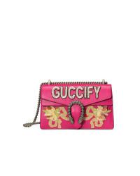 Bolso bandolera de cuero con adornos rosa de Gucci