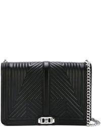 Bolso bandolera de cuero con estampado geométrico negro de Rebecca Minkoff