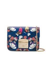 Bolso bandolera de cuero con print de flores azul