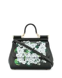 Bolso bandolera de cuero con print de flores negro de Dolce & Gabbana