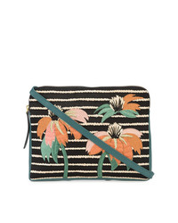 Bolso bandolera de cuero con print de flores negro de Lizzie Fortunato Jewels