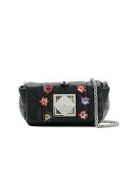 Bolso bandolera de cuero con print de flores negro de Sonia Rykiel