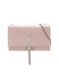 d02f28b52ee ... Bolso bandolera de cuero con print de serpiente rosado de Saint Laurent