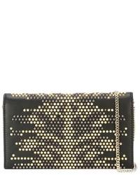 Bolso bandolera de cuero con tachuelas en negro y dorado de Roberto Cavalli