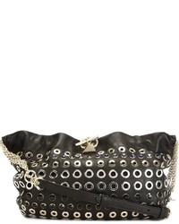 Bolso bandolera de cuero con tachuelas en negro y dorado de Sonia Rykiel